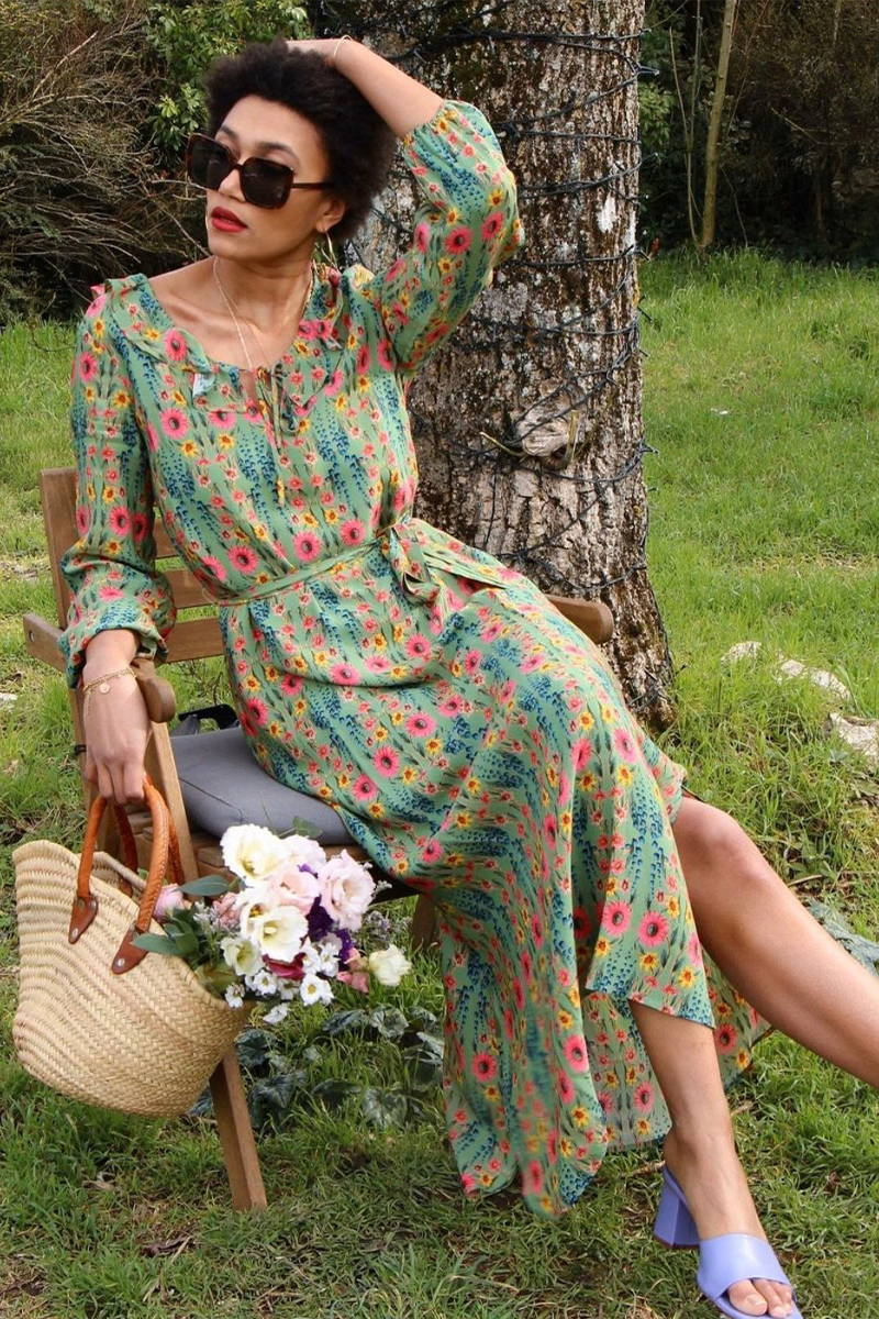 Parisian YOLKE Girl, Lena Farl, wears the Wildflowers Belladonna Dress