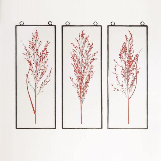 """Настенный гербариум-триптих """"Rouge noir"""""""