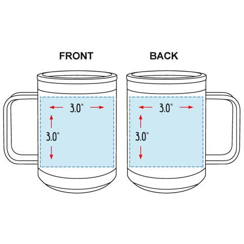Custom Logo Coffee Mug with Handle 15 oz Laser Engraved Business Logo Sizing