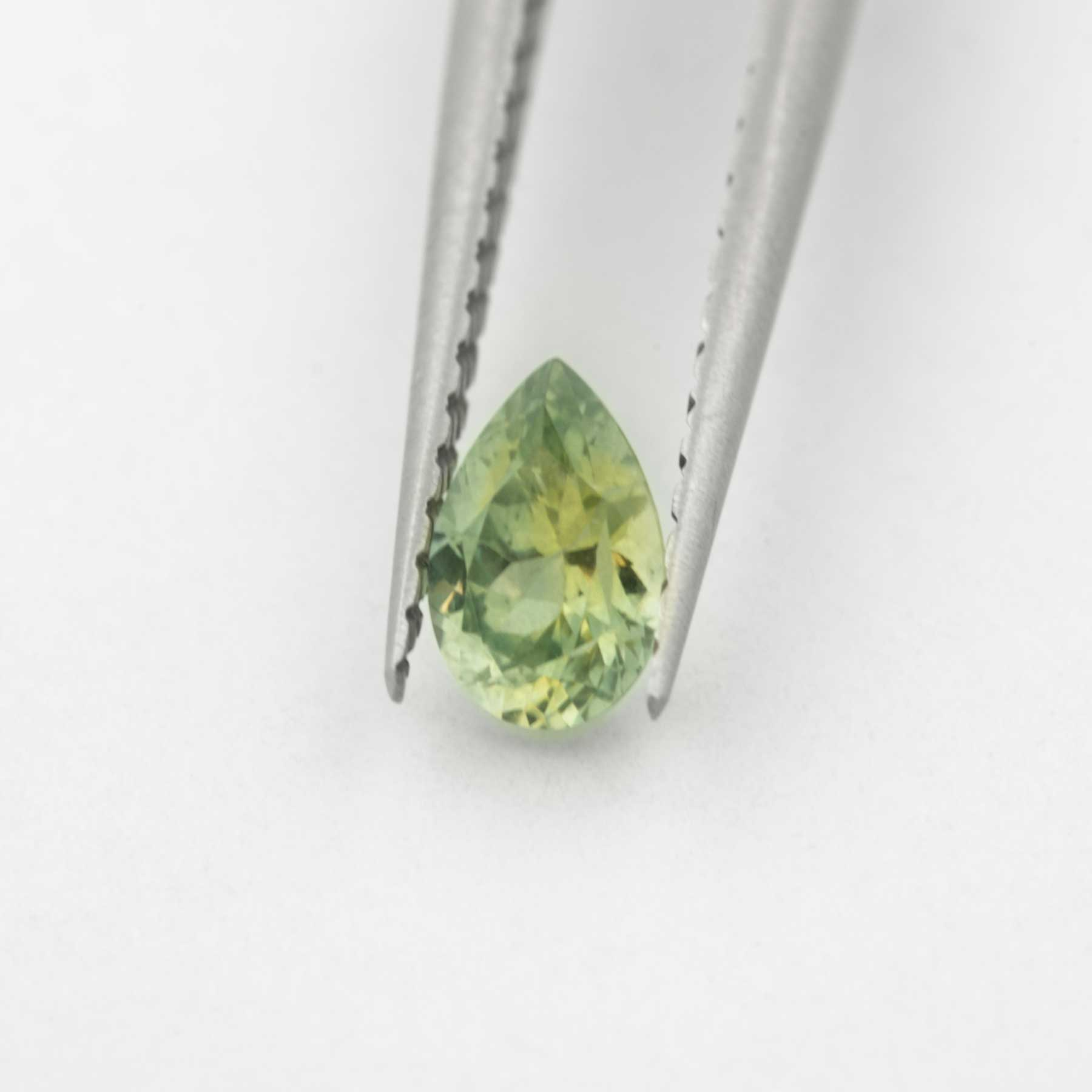 Unique Ethical Pear Shaped Green Yellow Montana Sapphire