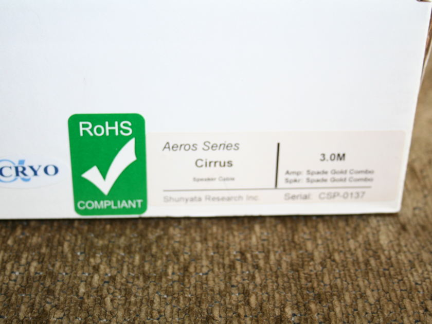 Shunyata Research Cirrus 3m Speaker Cables Gorgeous -- (see pics)
