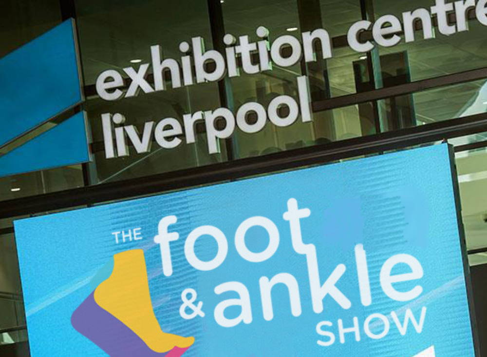 Photo of the foot and ankle show poster at the exhibition centre in Liverpool