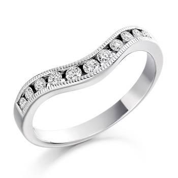 Cutaway platinum and gold eternity rings Pobjoy Diamonds