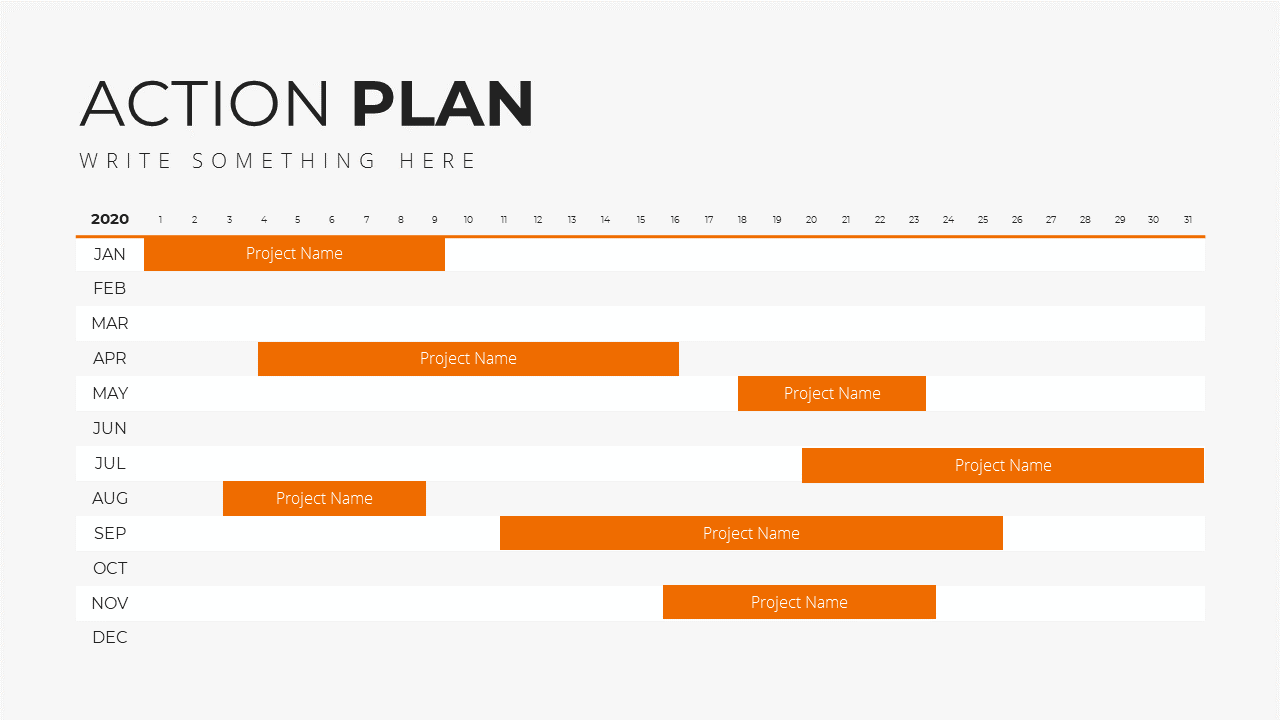 Minimal X Marketing Plan Presentation Template Action Plan