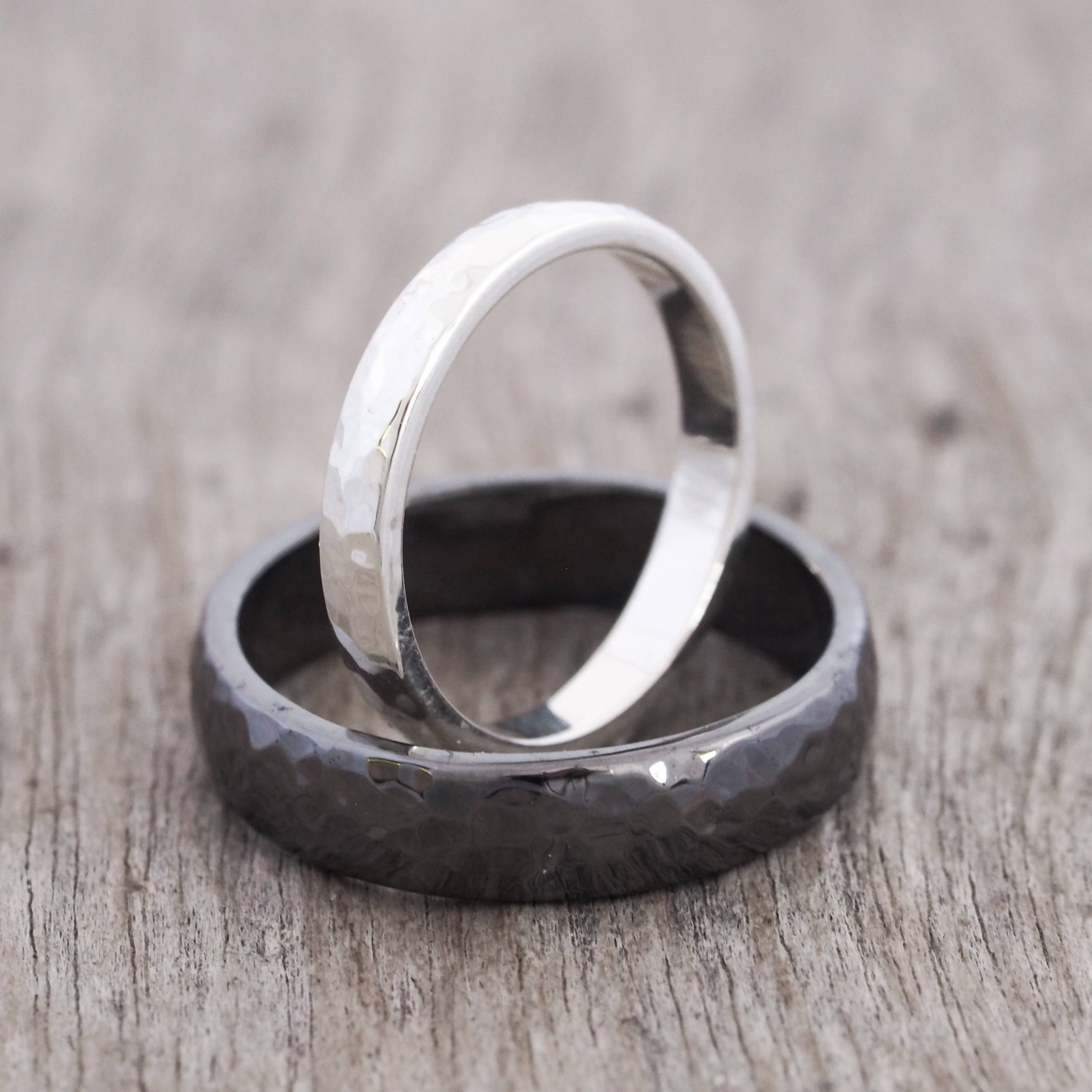 Faceted Wedding Bands in silver and black rhodium plated silver.