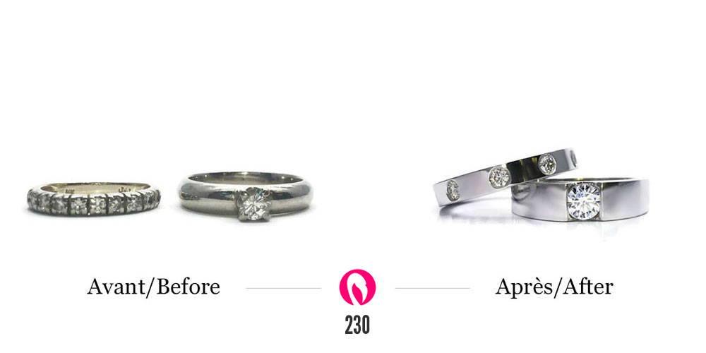 Recyclage vieux bijoux or blanc solitaire et semi-éternité en diamants