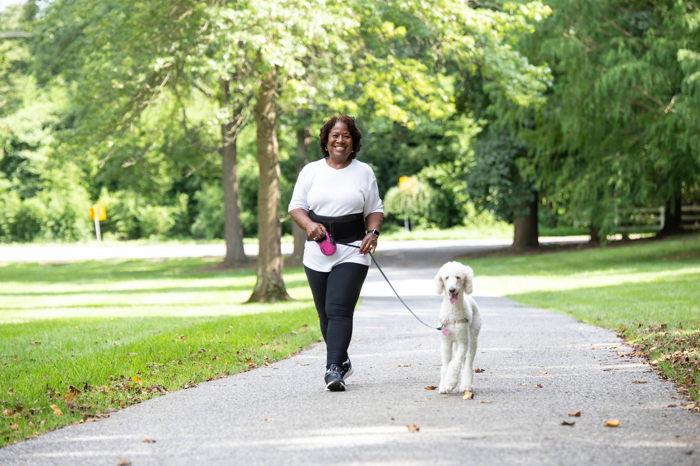 wearing back brace while walking the dog