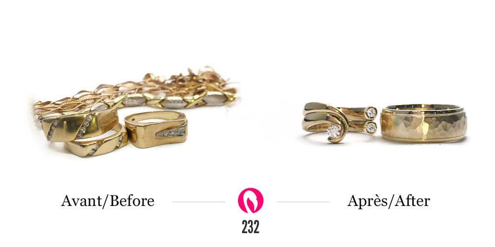 récupération de vieux bijoux or jaune en un kit de bague pour homme et femme
