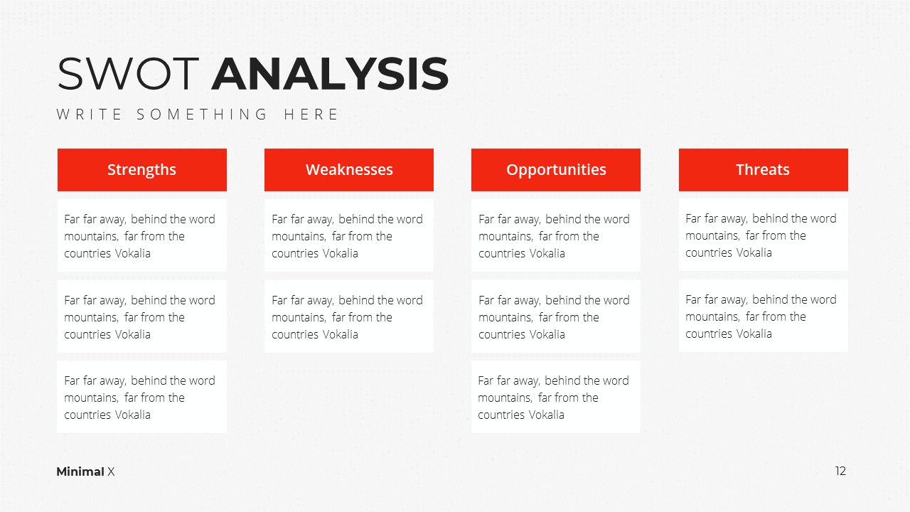 Minimal X Presentation Template Business Plan SWOT Analysis