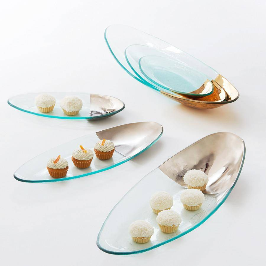 Annieglass glass serving platters and trays with 24kt gold
