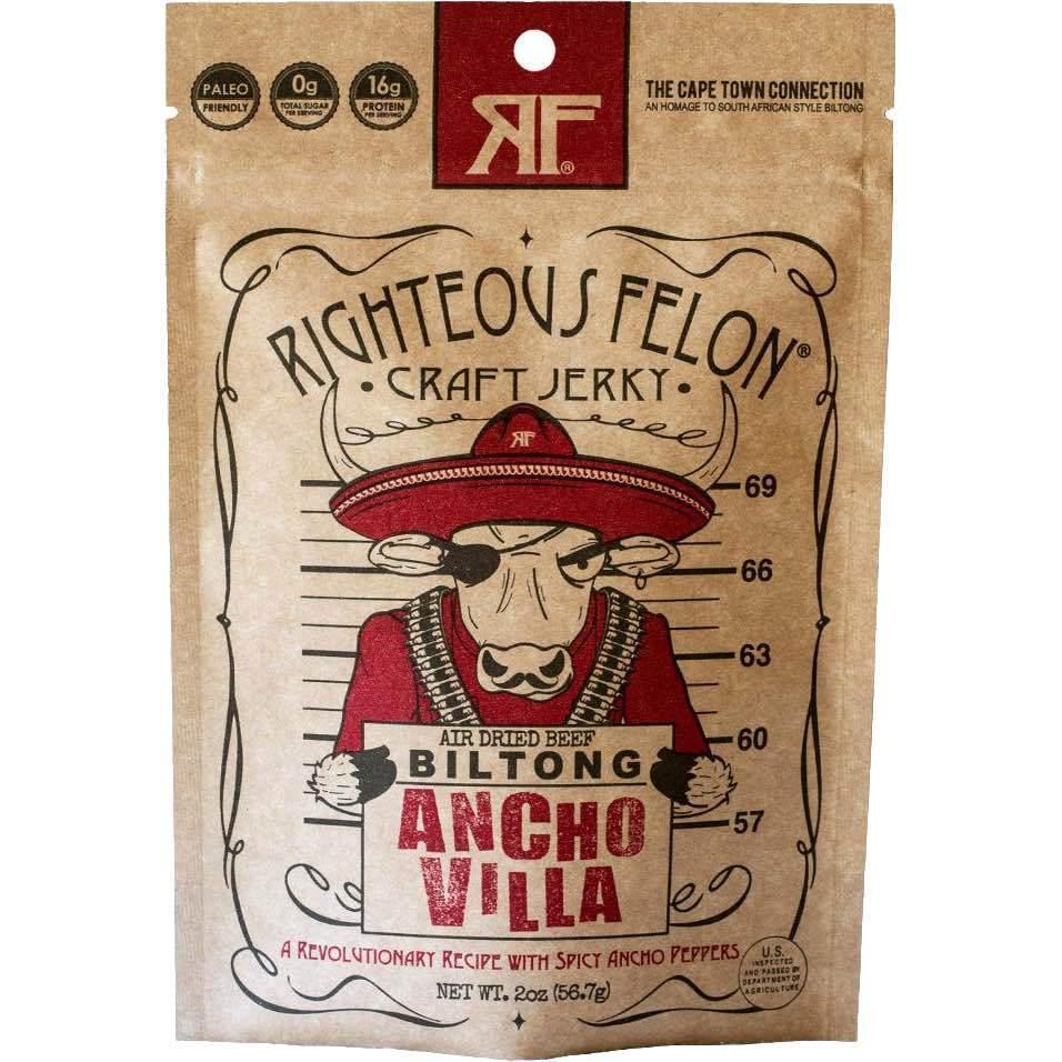 Righteous Felon Ancho Villa Biltong Beef Jerky