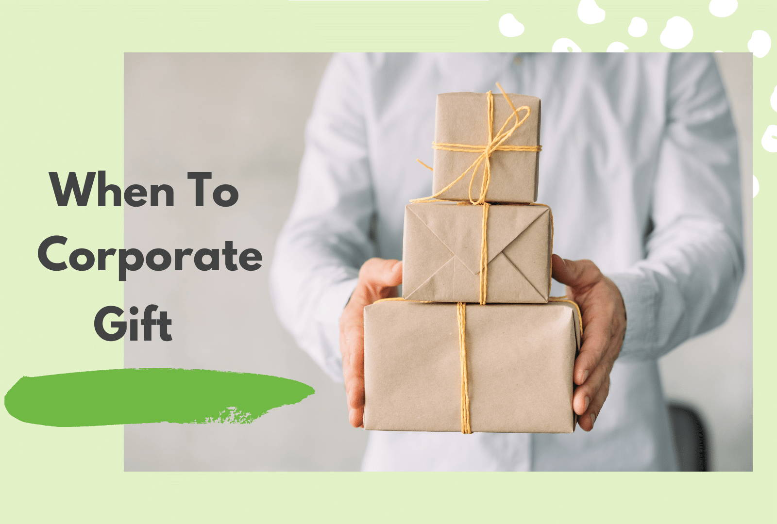 Corporate Gifting Provider: FreshJax organic spices. Recipient holding 3 stacked gift boxes wrapped in brown paper with a bow.