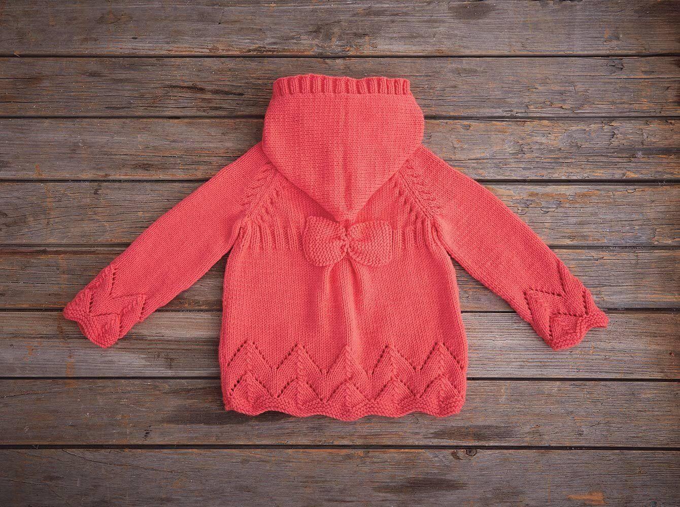Mellowspun Acrylic Yarn Hooded Bow Sweater