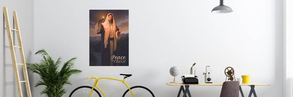 Environment shot feautring a wall poster of Jesus Christ.