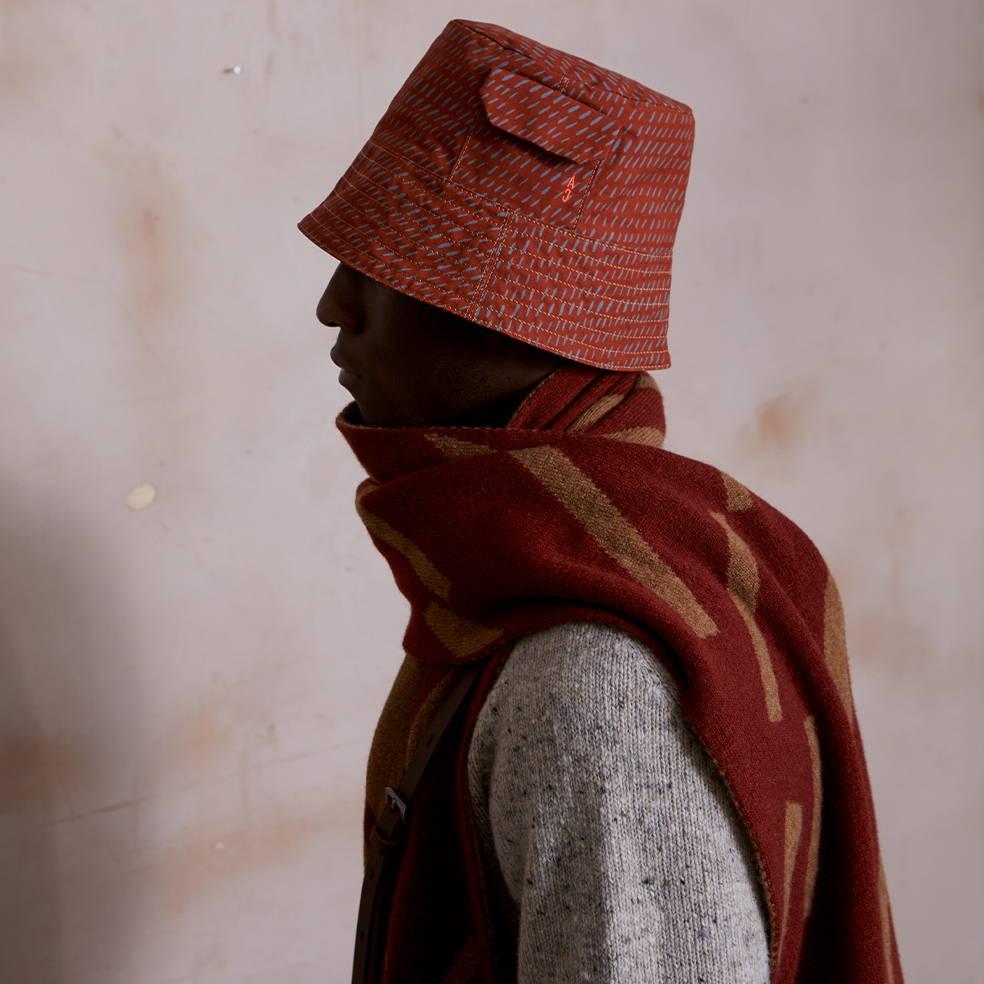 Bik Waxed Cotton Print Hat in Rust