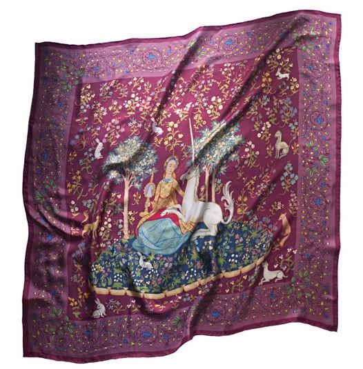 """Пурпурный шелковый платок """"Леди и Единорог"""""""