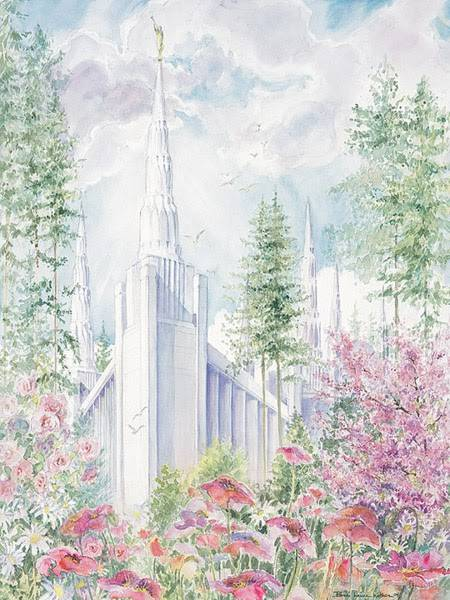 LDS art painting of the Portland Oregon Temple surrounded by flowers.