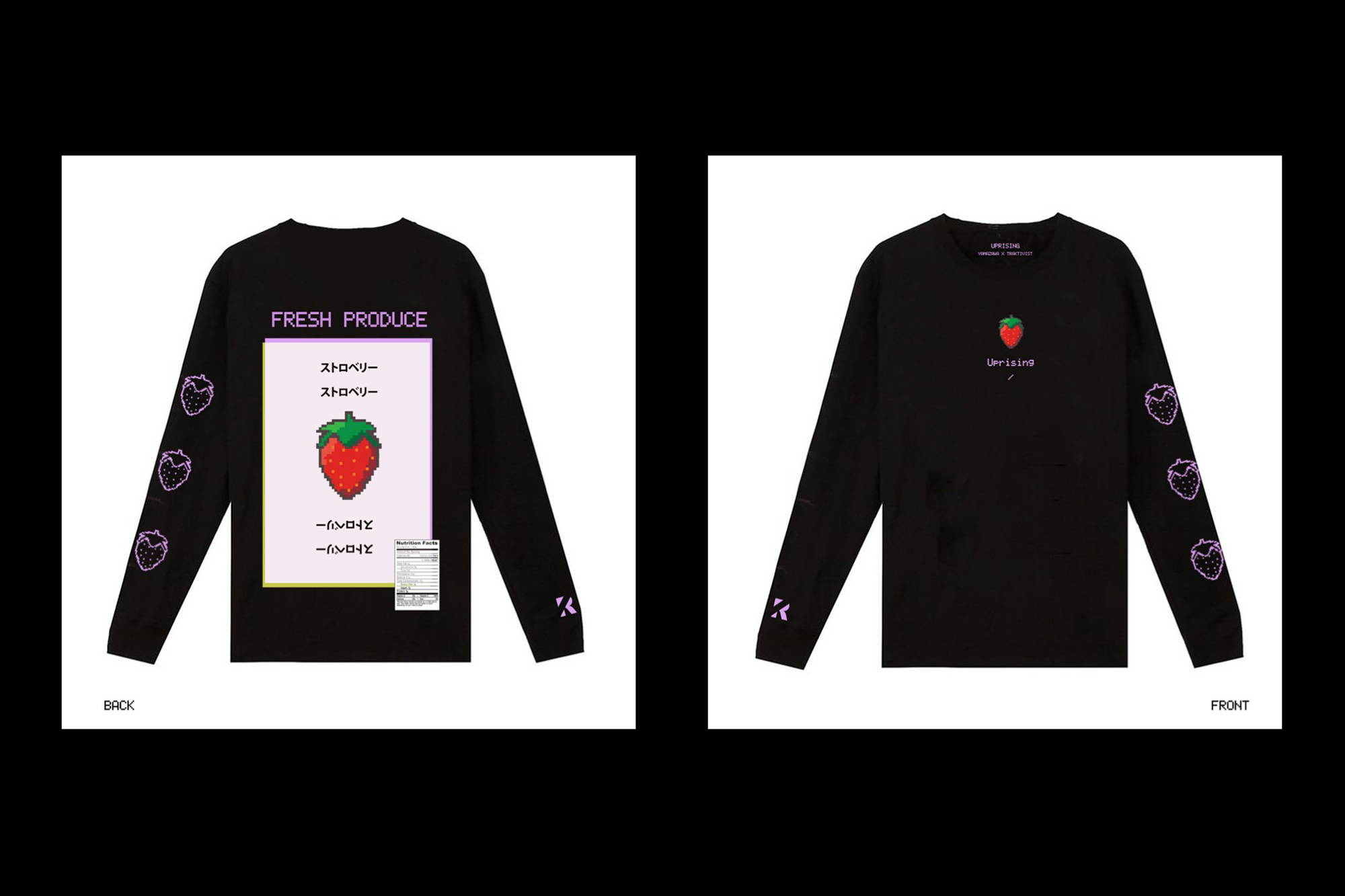 Fresh Produce Streetwear Japanese Inspired Black Long Sleeve for Asian American Movement with Young Bae VH1's Black Ink Crew and G YAMAZAWA