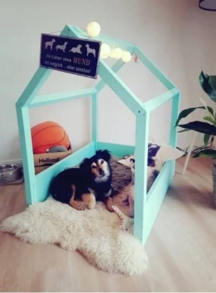 die fertige selbstgebaute Hundehütte