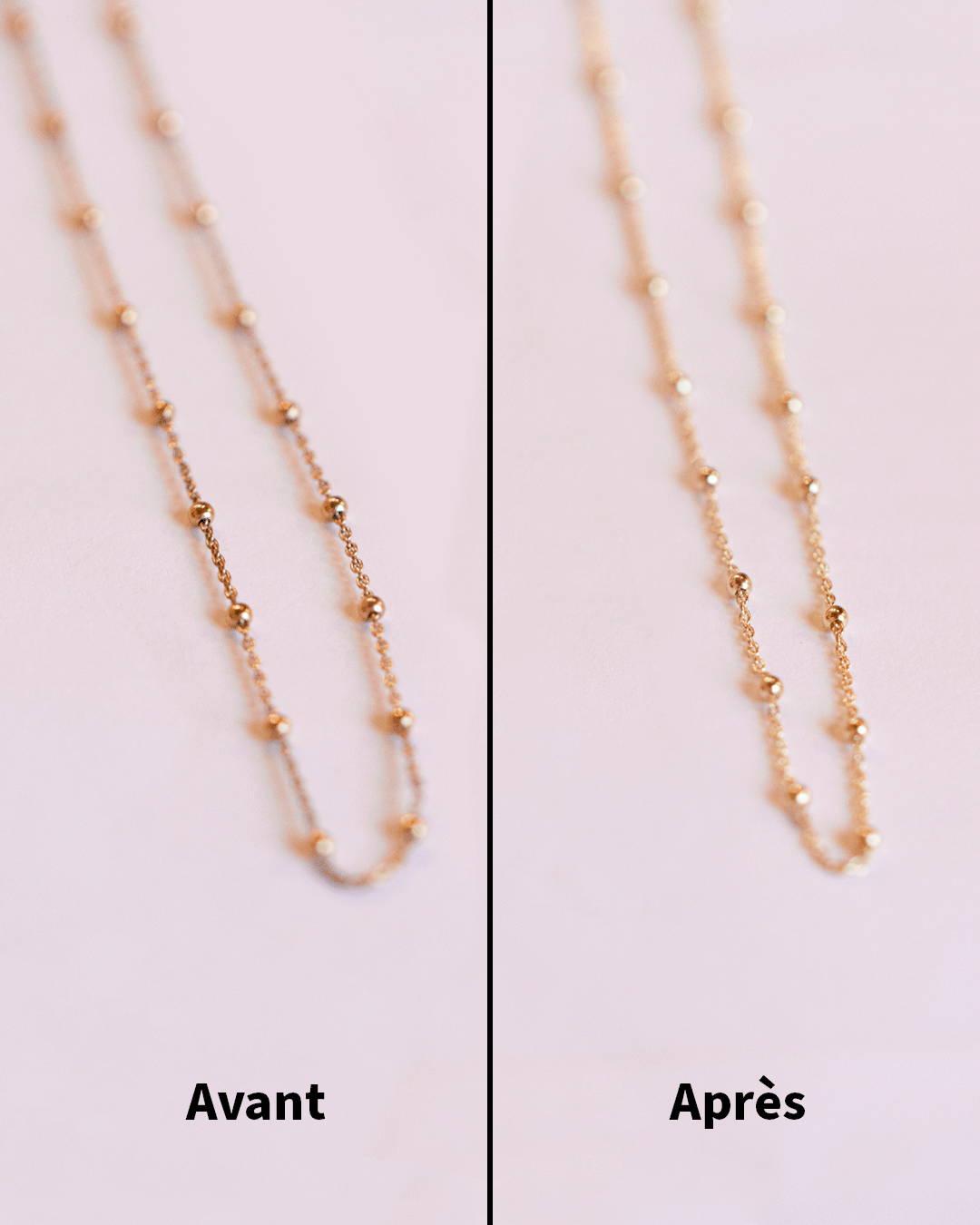 résultat de nettoyage d'un bijou en plaqué or avant après
