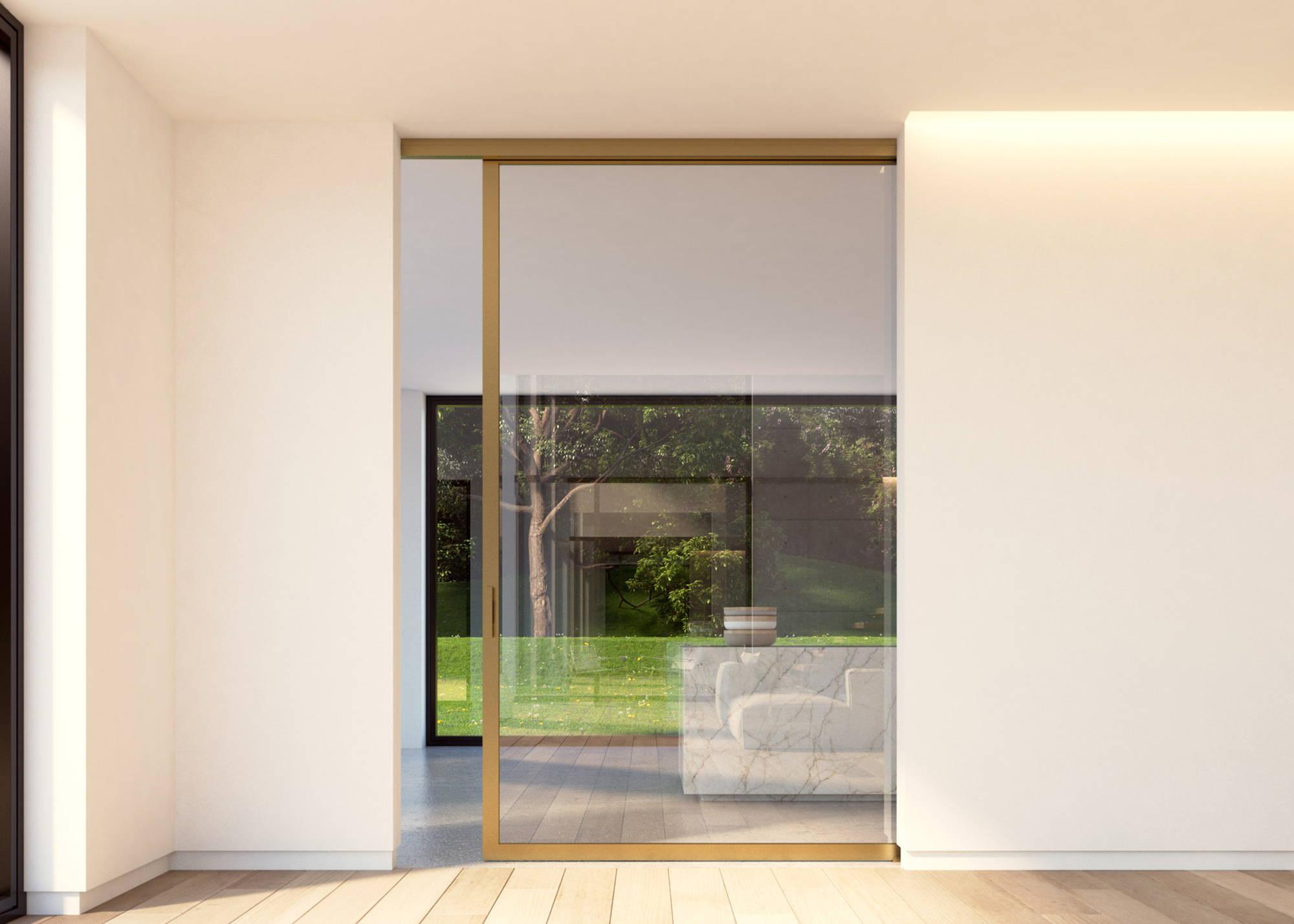 Slideways 6530 bronze ceiling mount sliding door