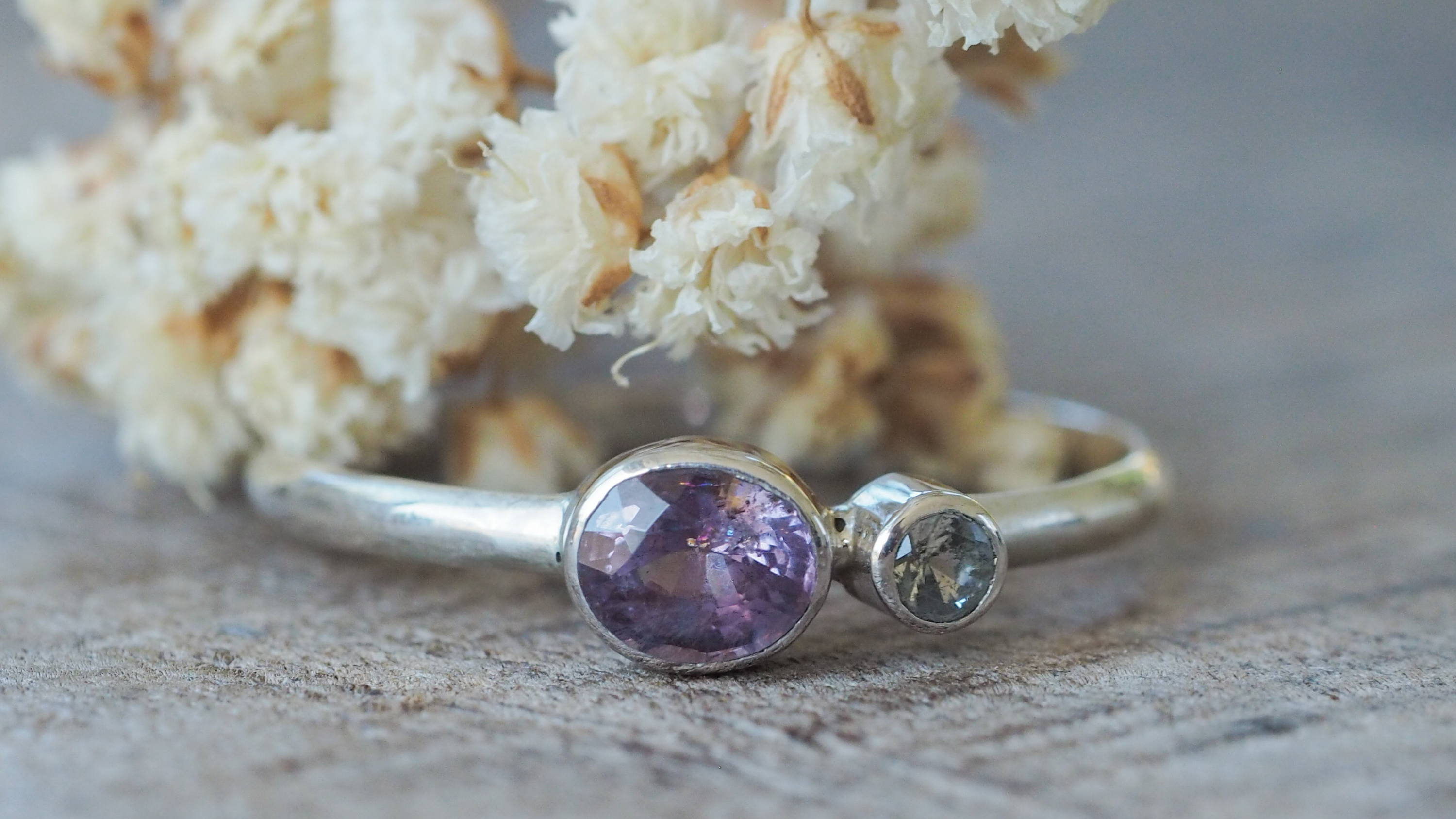 Dainty silver Spinal and Moonstone Ring