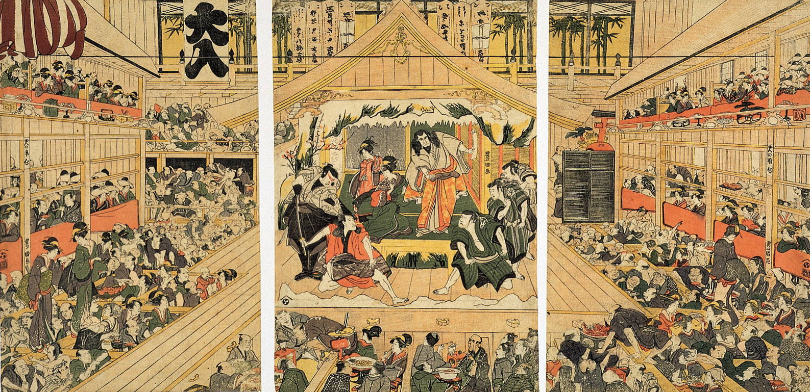 Kabuki theatre woodcut