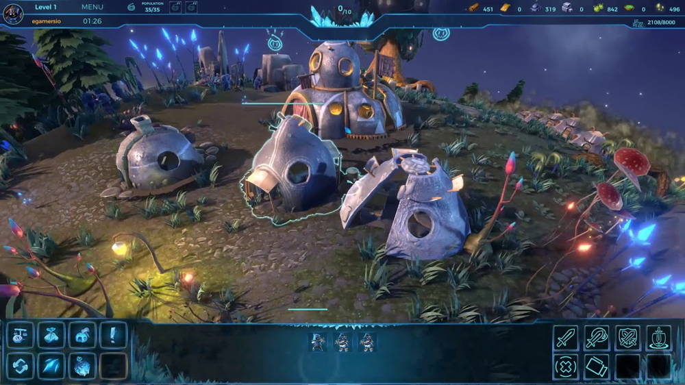 gameplay of a real-time strategy game HashRush