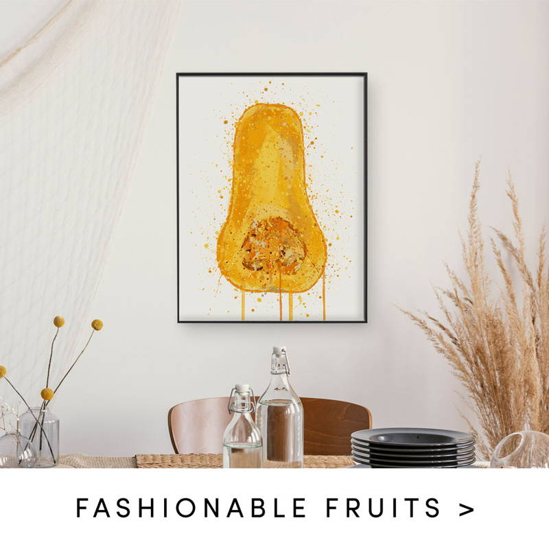 Butternut squash splatter art print. text states to shop fashionable fruits