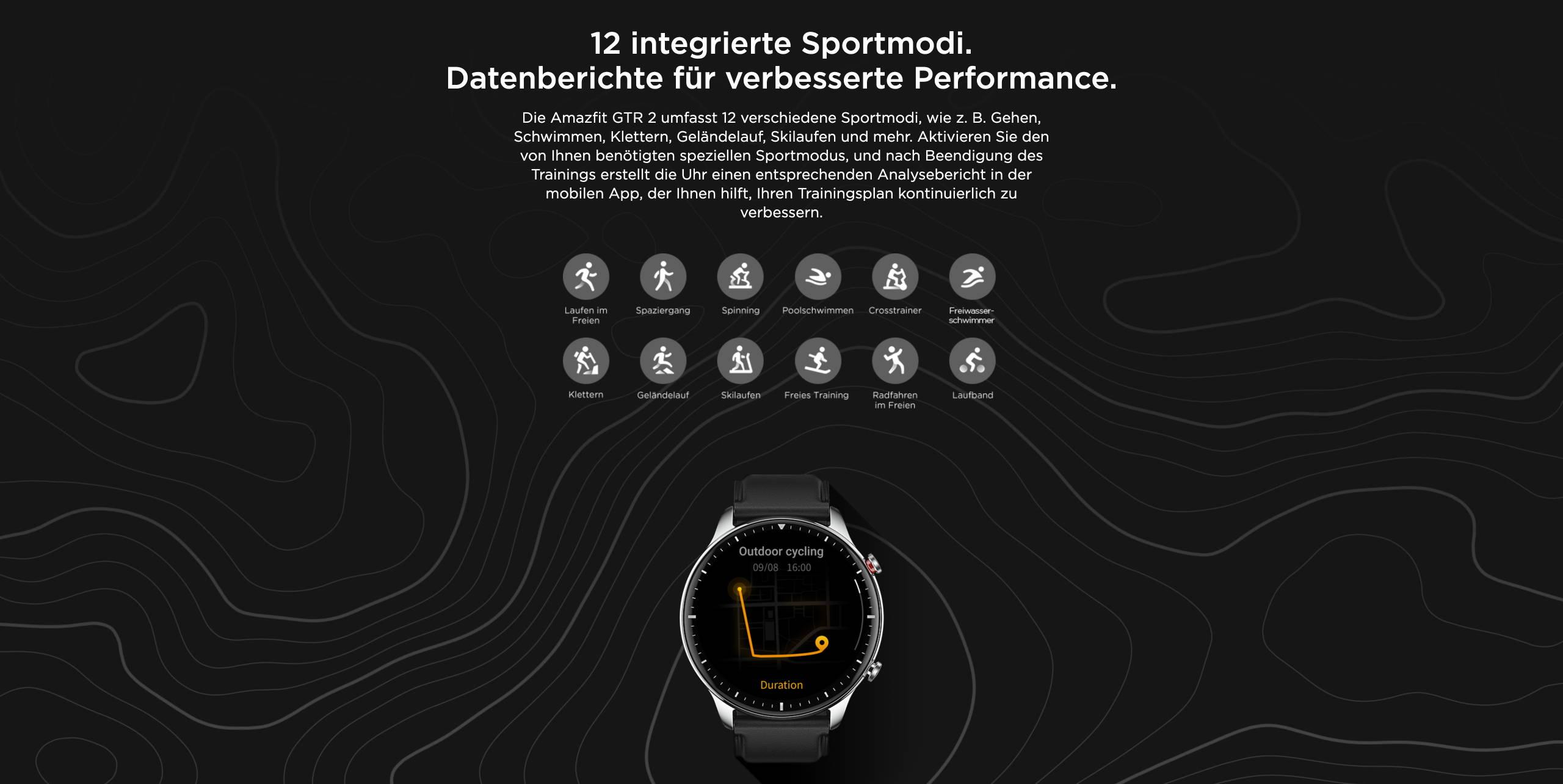 Amazfit GTR 2 - 12 integrierte Sportmodi. Datenberichte für verbesserte Performance.