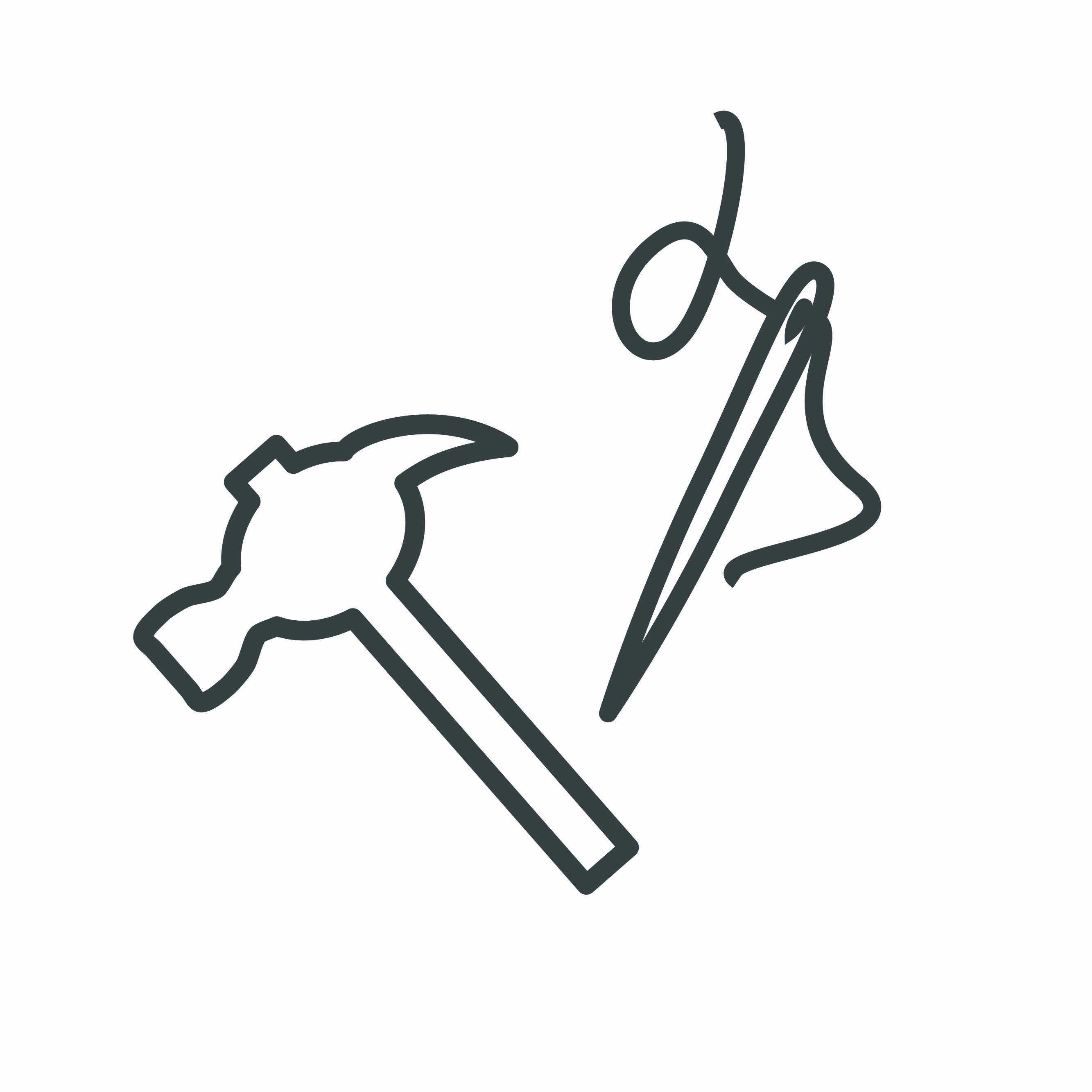 Hammer and needle icon. Graphic