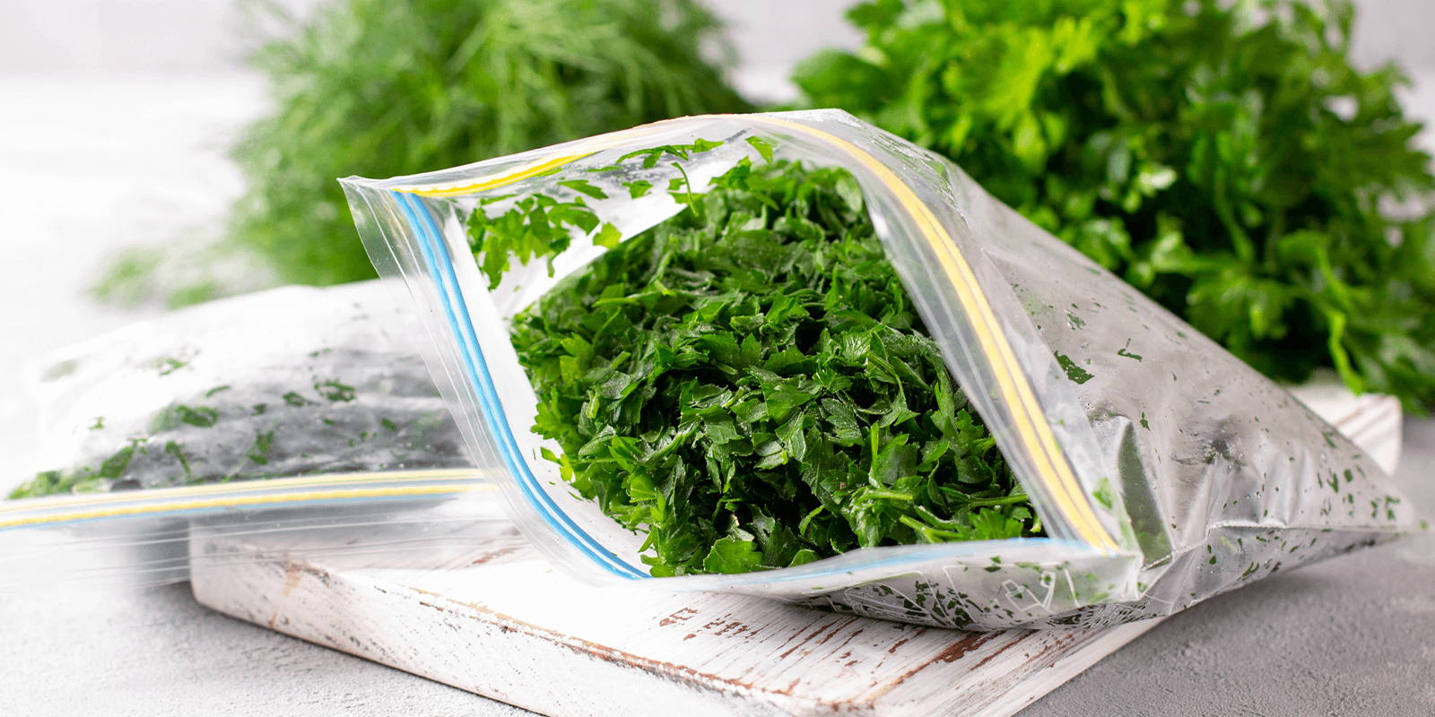 Frozen, bagged herbs sit on counter.