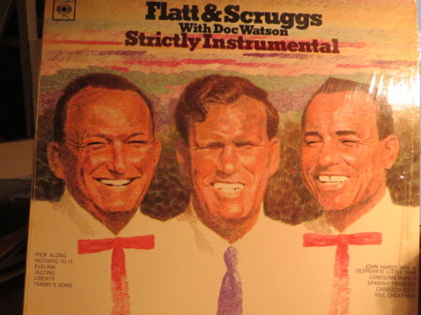 FLATT and SCRUGGS w DOC WATSON - STRICTLY INSTRUMENTAL 2 EYE  MONO SHRINK STILL ON COVER