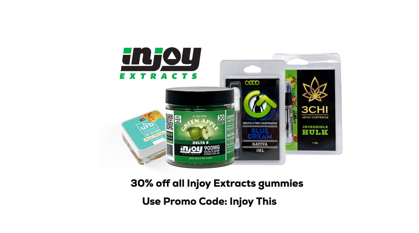 Injoy Extracts online store specializes in delta 8 carts, delta 8 gummies, delta 8 tinctures, oils, concentrates and much more.  Injoy Extracts carries brands such as Treetop Hemp Co., 3CHI,Urb, No Cap Hemp Co., Airopro,The Hemp Doctor, and Delta Effex.  www.https://injoyextracts.com
