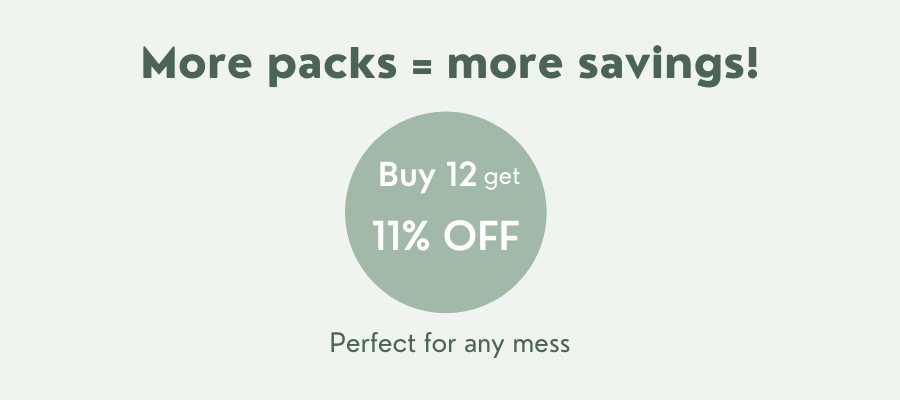 Bundle and save on your bamboo baby water wipes with 11% off when you buy 12 wipes packs