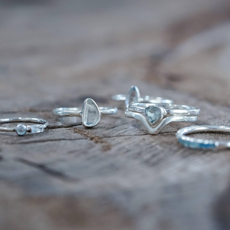 Silver aquamarine rings