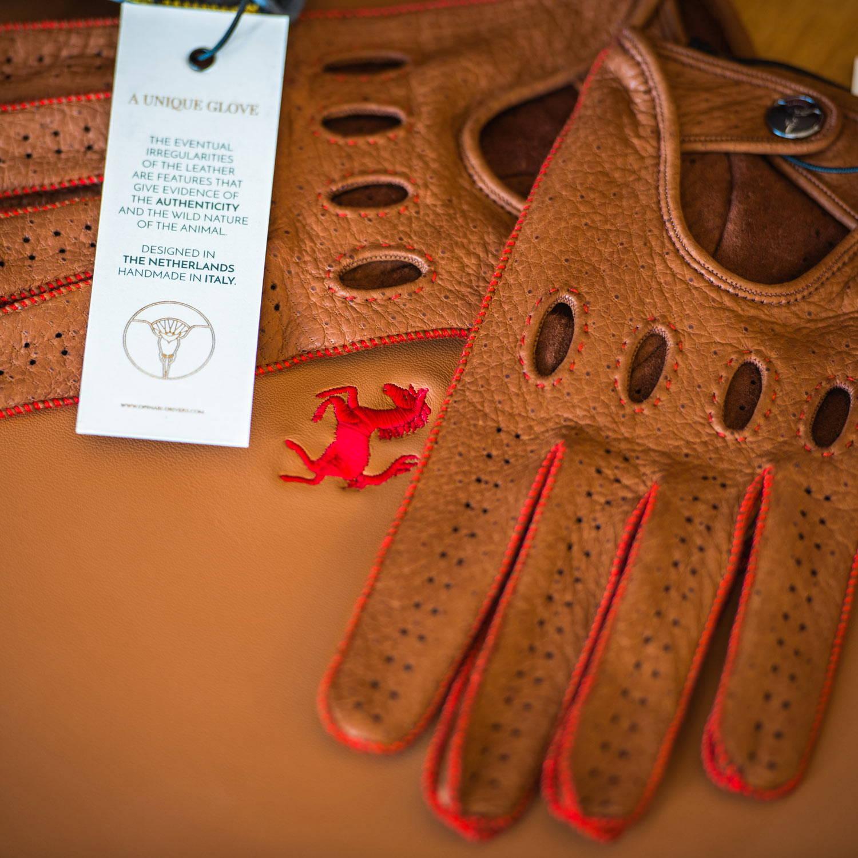 Red brown Ferrari driving gloves