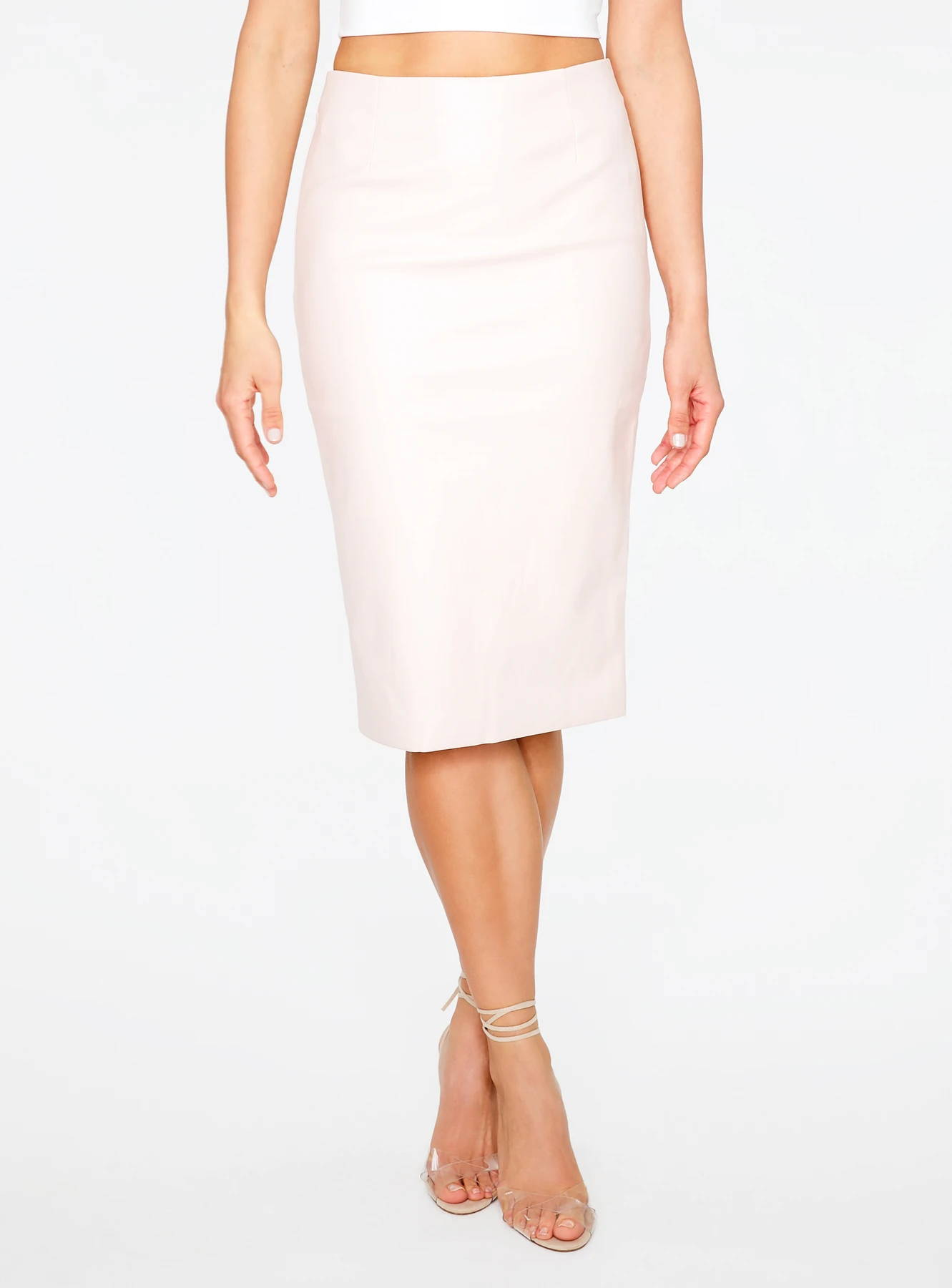Blush Faux Leather Pencil Skirt