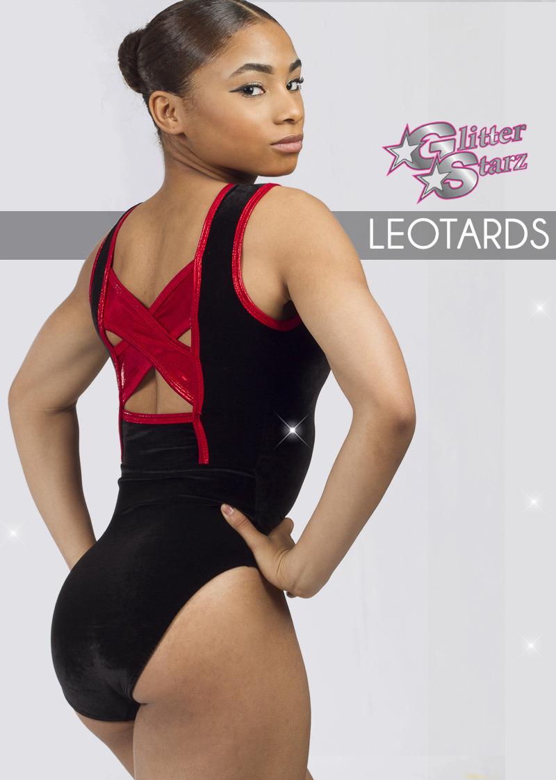 glitterstarz custom bling leotards for cheerleading dance and gymnastics red xback