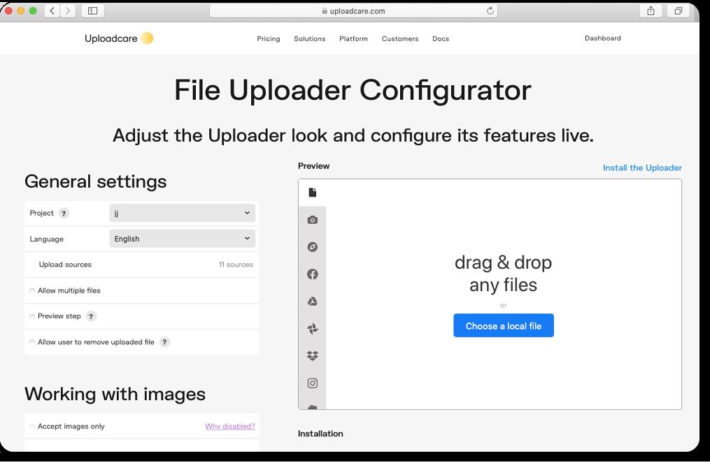 Configure file uploader without coding