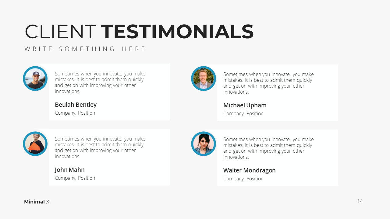 Minimal X Project Proposal Presentation Template Client Testimonials