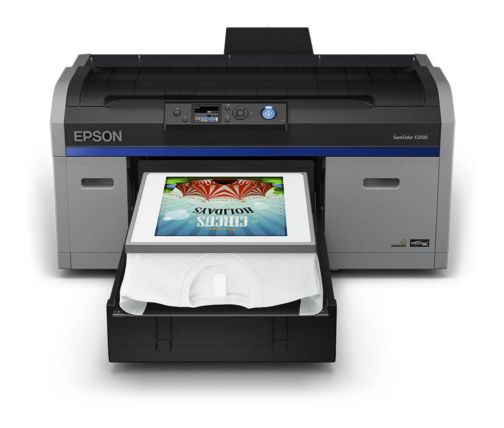 Epson SureColor F2100 Direct to Garment Printer Front View with a Printed on the White T-Shirt