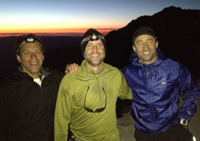 Chip Roame, Eric Clarke and Mike Alfred on midnight hike the night before the summit bid.