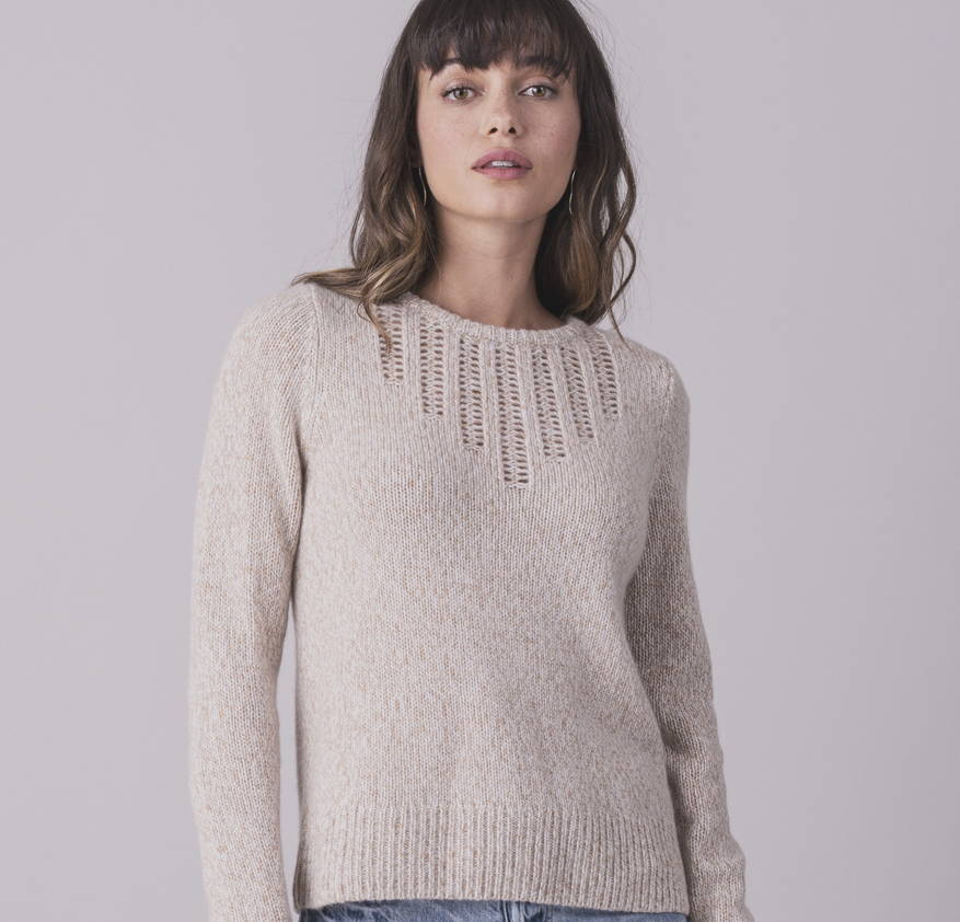 female model wearing a cashmere sweater