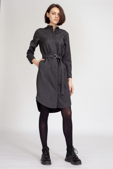 Платье-рубашка черно-серый меланж из шерсти