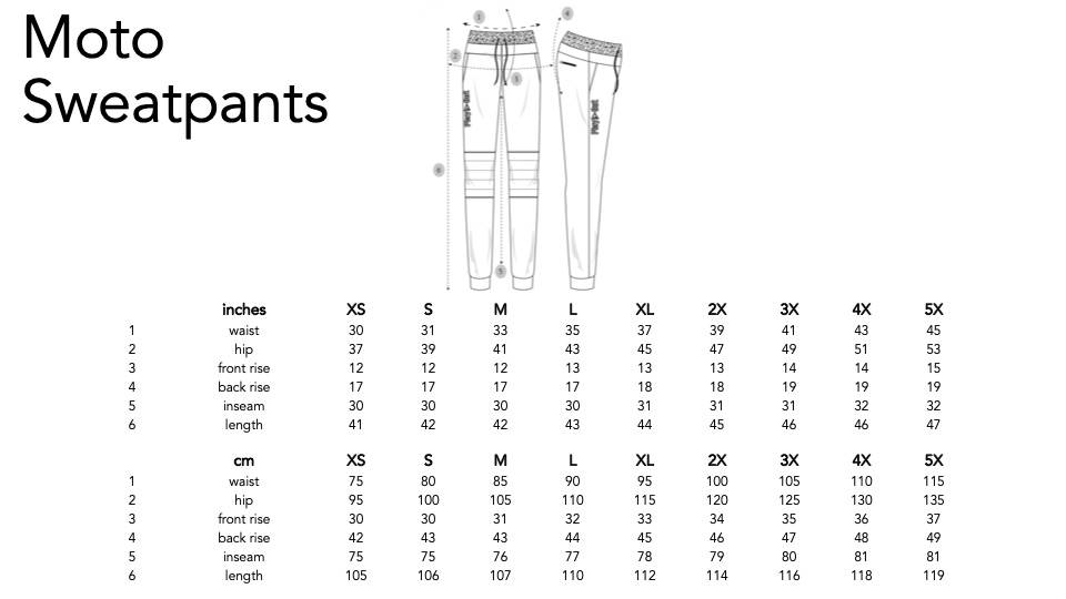 Play Out unisex sweatpants sizing chart.
