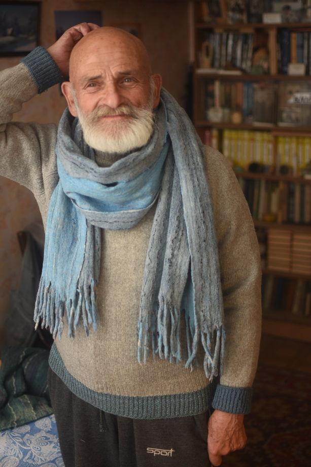 """Мужской шарф с кистями """"Небо"""" из шерсти и хлопка"""