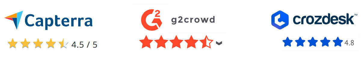 Our ratings on Capterra (4.5), G2Crowd (4.5), and Crozdesk (4.8)