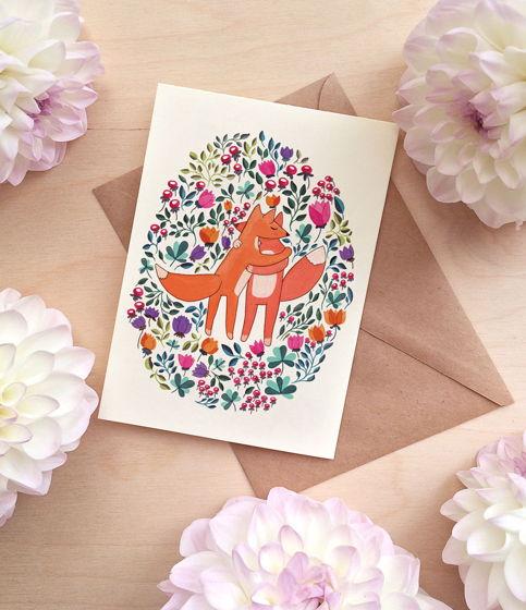 Поздравительная двойная открытка с лисичками. На свадьбу.