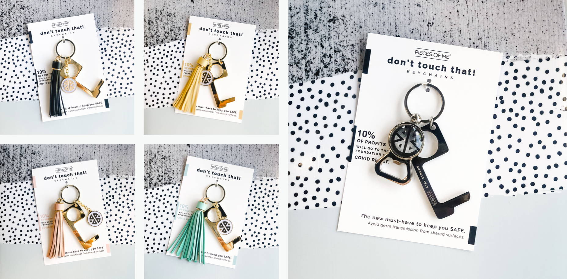 "Gallery of ""Don't Touch That"" keychain options in black, yellow, blush pink, and aqua"